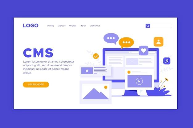 Pagina di destinazione del sistema di gestione dei contenuti piatta Vettore gratuito