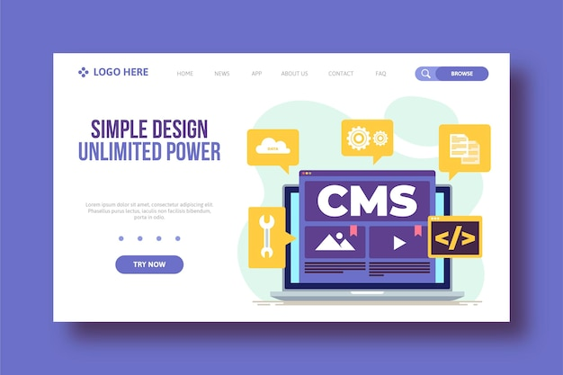 Flat content management system web template Free Vector