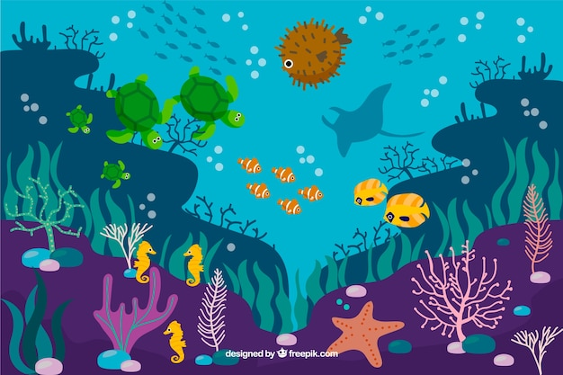 Flat coral background with fish and sea stars Free Vector