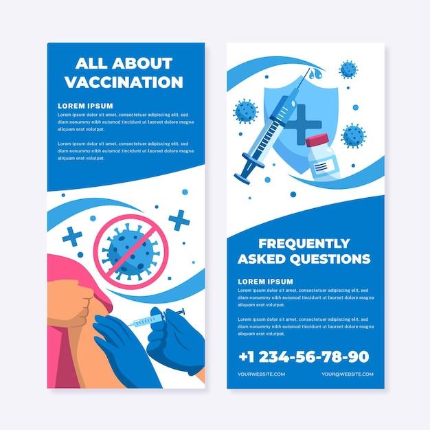 Flat coronavirus vaccination informative brochure Free Vector