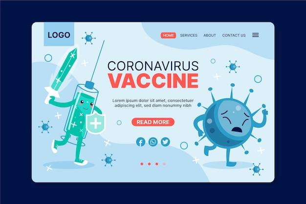 플랫 코로나 바이러스 백신 웹 템플릿 무료 벡터