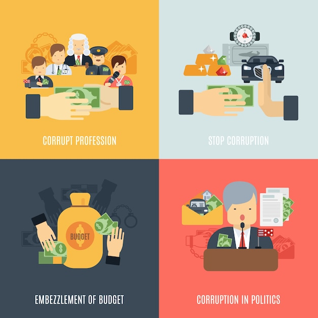 Flat corruption set Free Vector