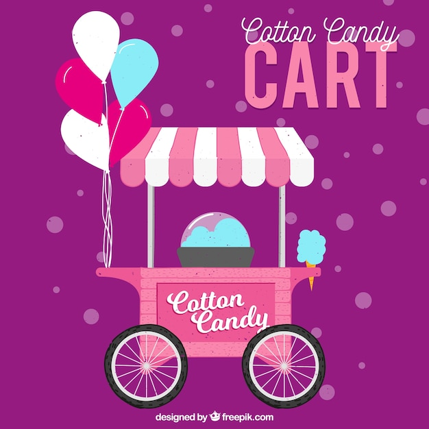 Flat cotton candy cart with balloons