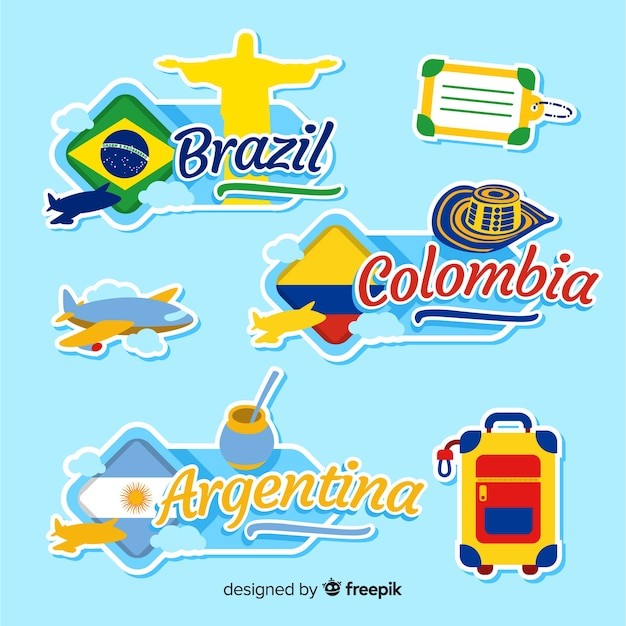 Flat country stickers set Free Vector