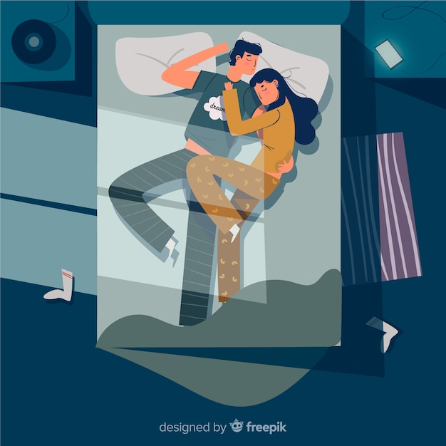 Flat couple sleeping at night in bed background Free Vector