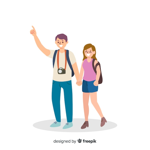 Flat couple traveling background Free Vector