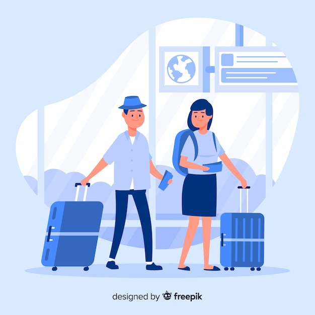Flat couple traveling Free Vector