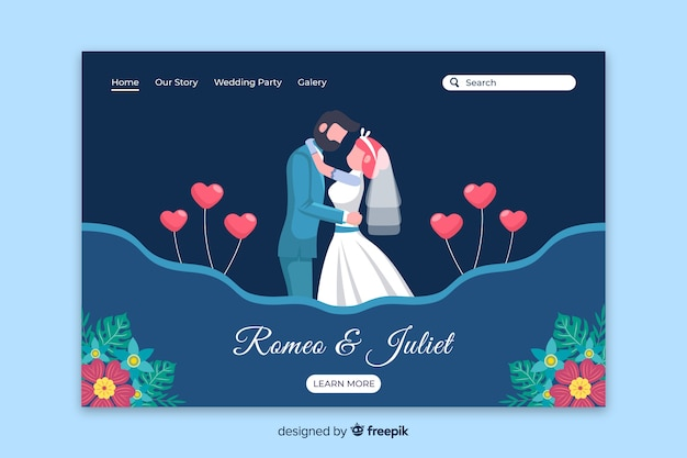 Flat couple wedding landing page Free Vector