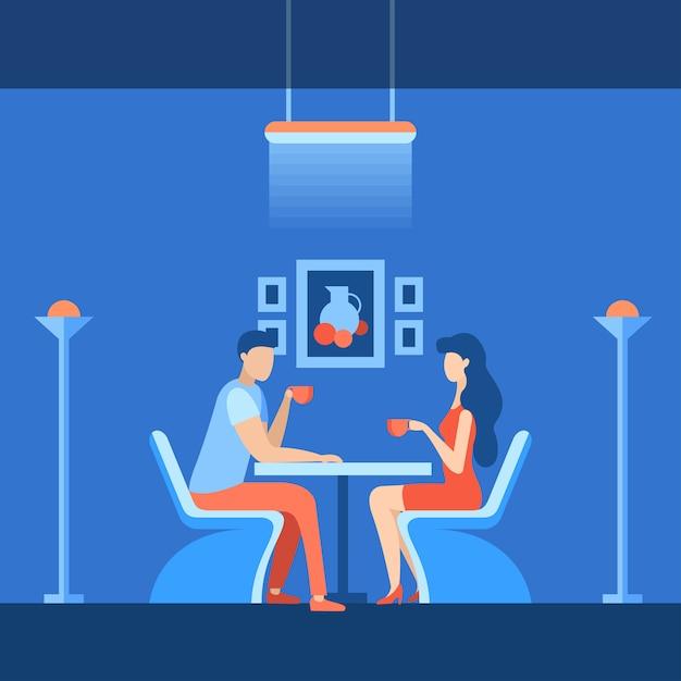 Flat coworking meeting area vector illustration. Premium Vector