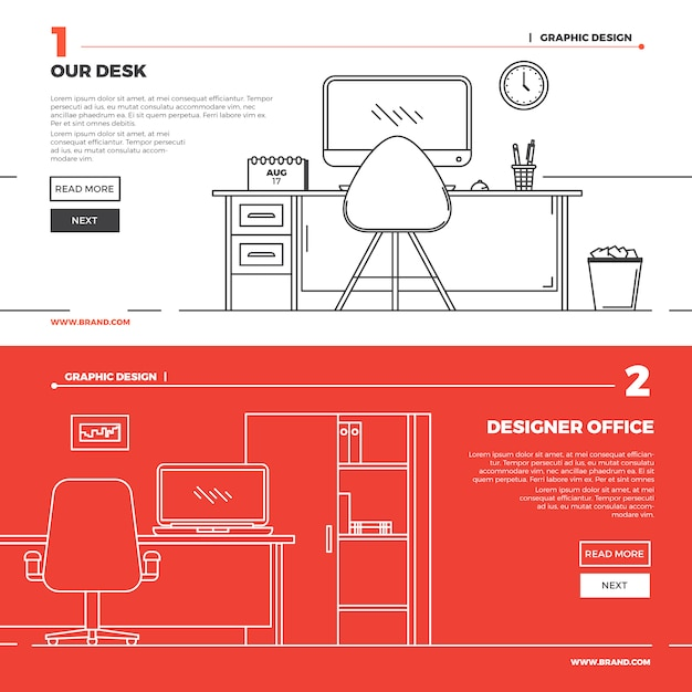 Flat creative workspace illustration Free Vector