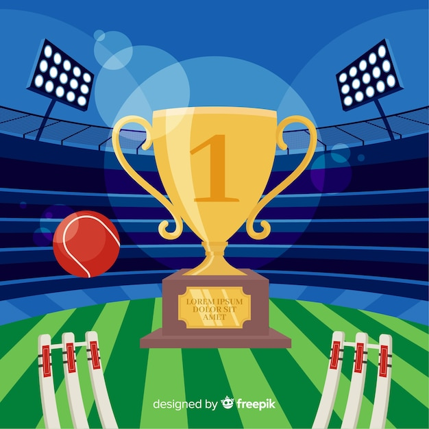 Flat cricket stadium background Free Vector