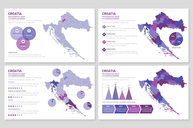 Плоская хорватия карта инфографики Бесплатные векторы