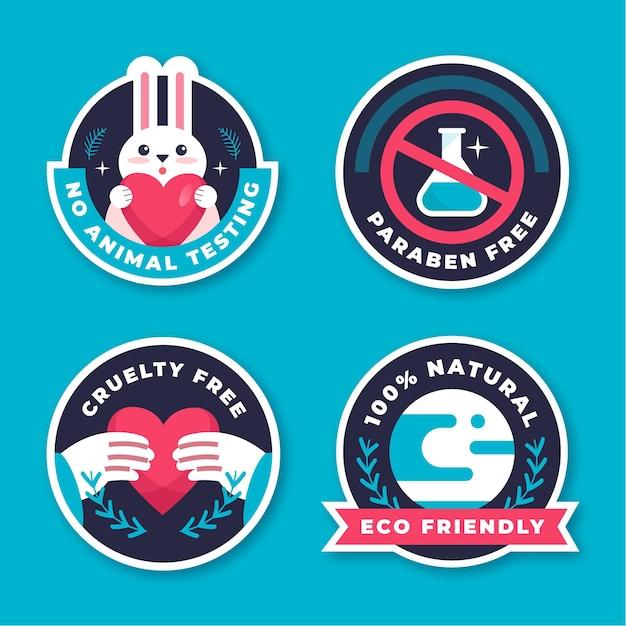 Collezione di badge flat cruelty free Vettore gratuito