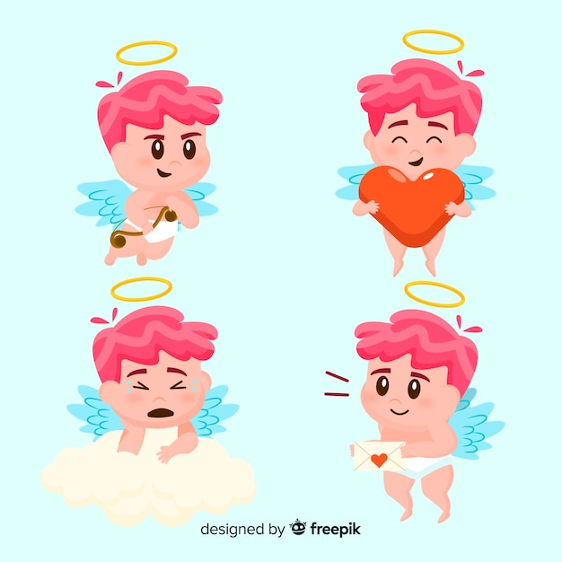 Flat cupid character collection Free Vector