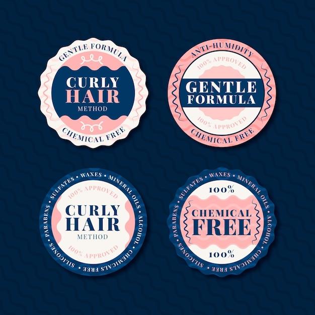 Коллекция значков с плоскими вьющимися волосами Бесплатные векторы