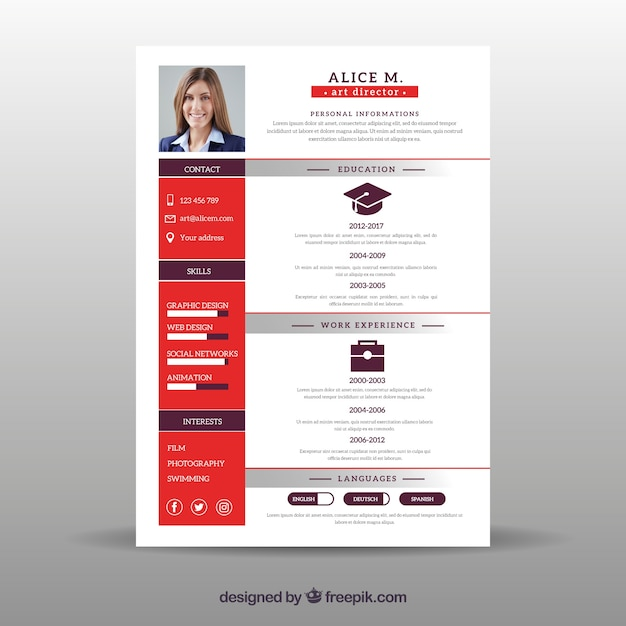 Flat Curriculum Vitae Template Vector Free Download