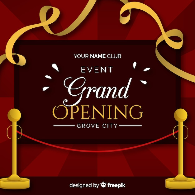 Flat cut ribbon grand opening background Free Vector