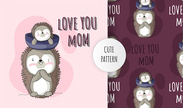 Flat cute animal baby hedgehog with mom pattern set Premium Vector