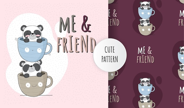 커피 컵 패턴 세트에 편평한 귀여운 동물 팬더 프리미엄 벡터