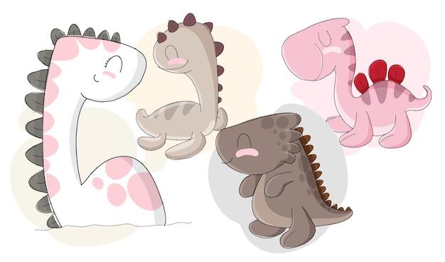 Набор плоских милых детей динозавров Premium векторы