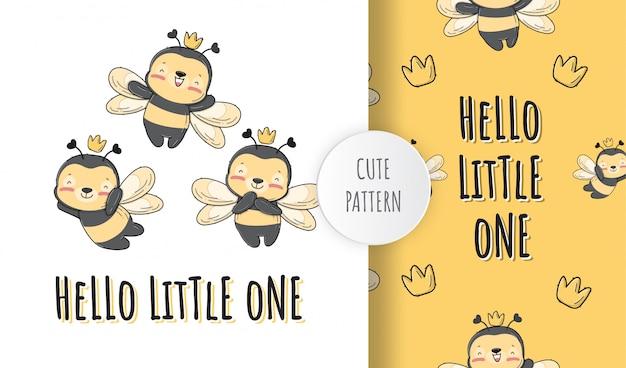 플랫 귀여운 아기 꿀벌 동물 패턴 일러스트 프리미엄 벡터
