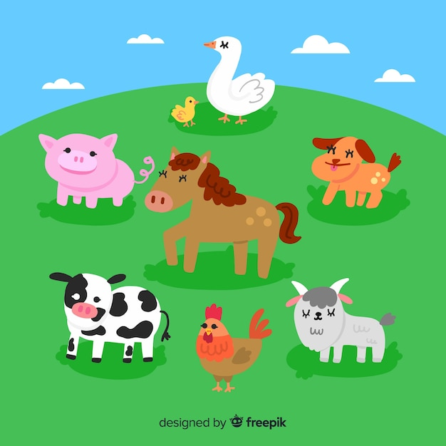 Flat cute farm animal collection Free Vector