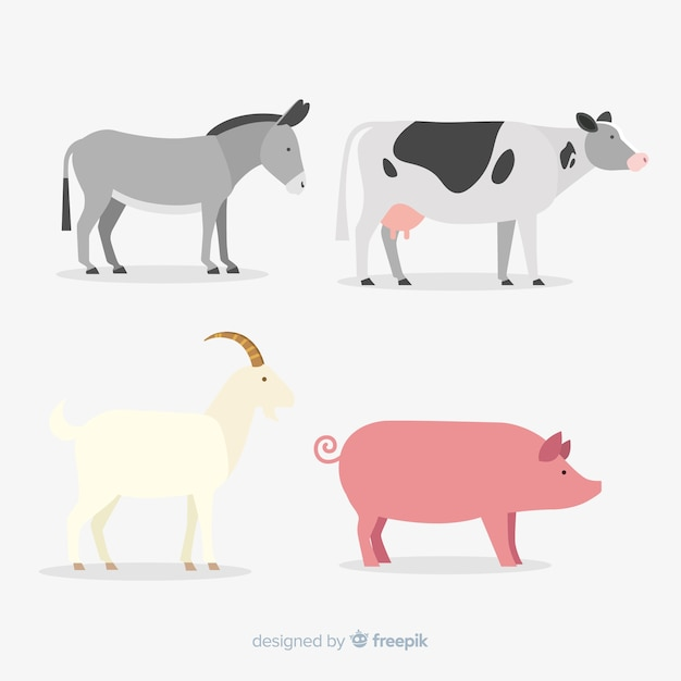 Flat cute farm animal collection Free Vector