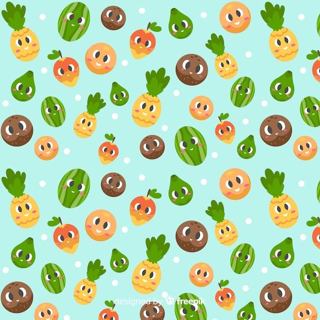 Flat cute tropical fruits pattern Free Vector