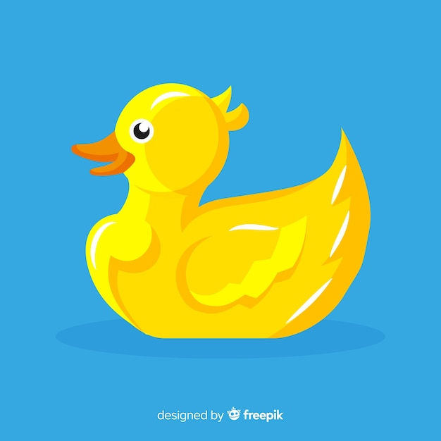 Flat cute yellow rubber duck Free Vector