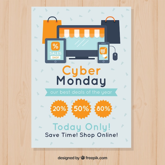 Flat cyber monday poster template with laptop store