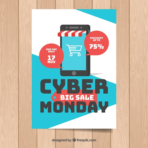 Flat cyber monday poster template with smartphone store