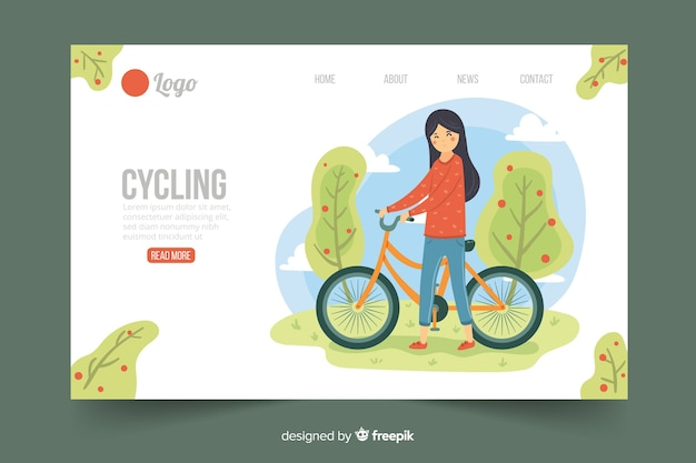Flat cycling landing page template Free Vector