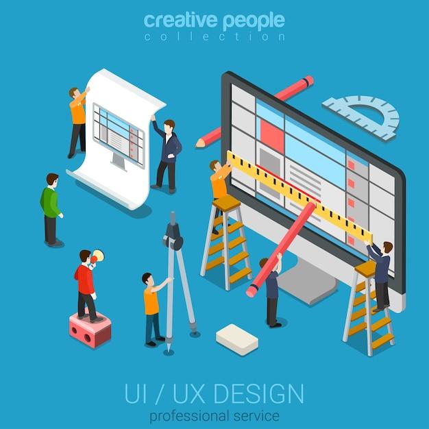 Плоский d изометрический рабочий стол uiux дизайн веб-инфографическая концепция Бесплатные векторы