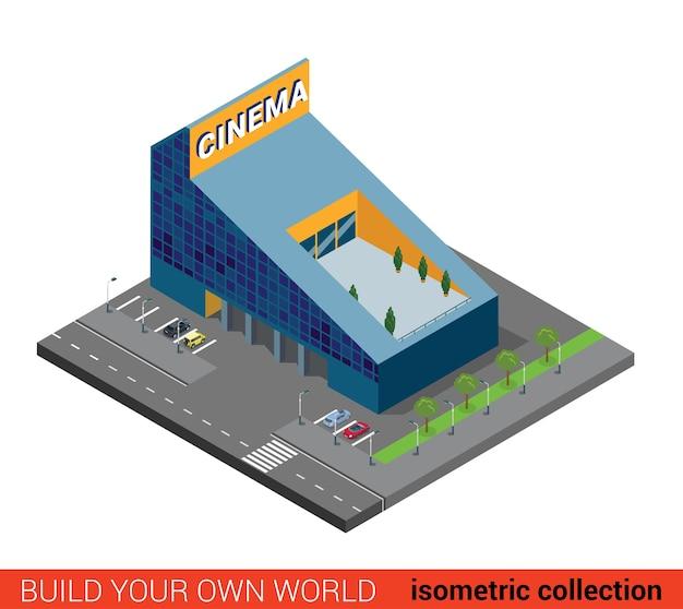 Flat d isometric modern glass cinema building block infographic concept Premium Vector