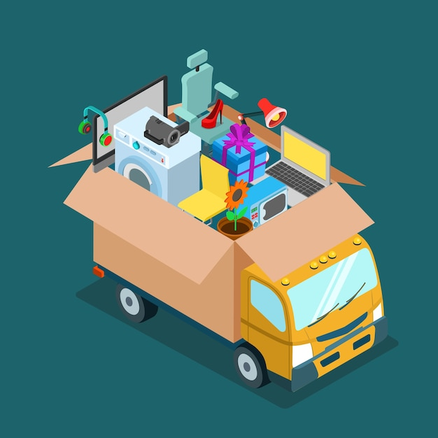 Flat d isometric online internet web shopping delivery or home office moving concept Free Vector
