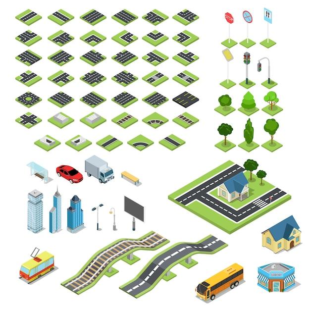 Плоский d изометрические улица дорожный знак строительные блоки инфографики концепция набор Premium векторы