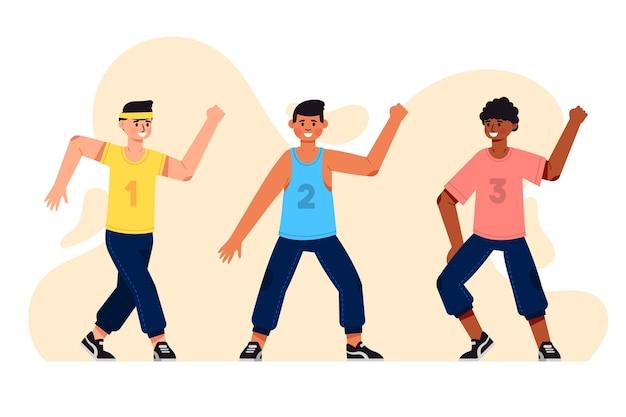 Lezione di fitness danza piatta illustrata Vettore gratuito