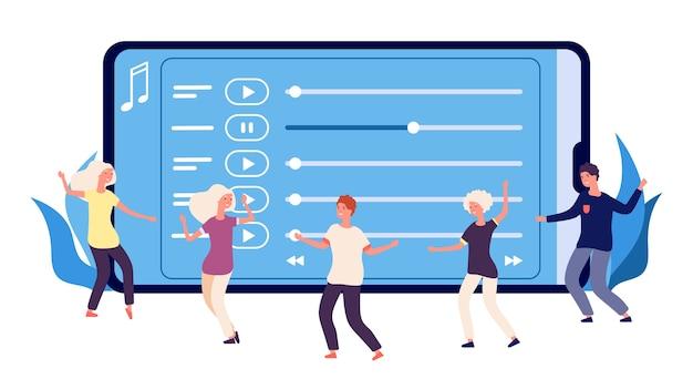 Плоские танцоры и музыкальный онлайн-плейлист Premium векторы
