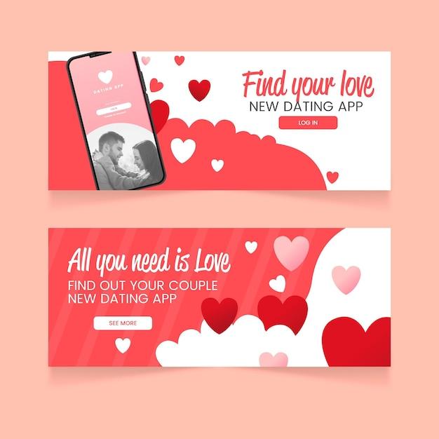 Modello di progettazione banner app di appuntamenti piatti Vettore gratuito