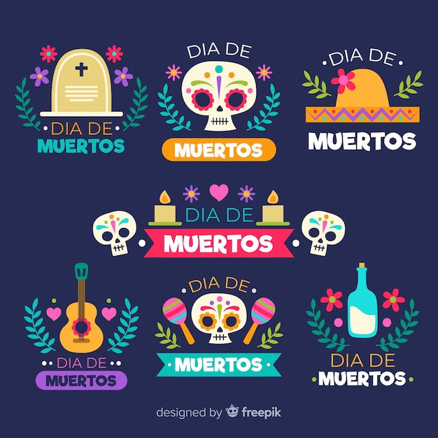 Flat day of the dead badge collection Free Vector