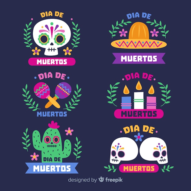 Flat day of the dead label collection Free Vector
