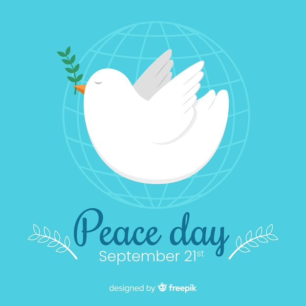 Flat day of peace with dove Free Vector