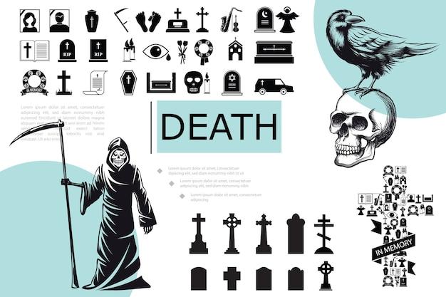 Flat death elements composition Free Vector