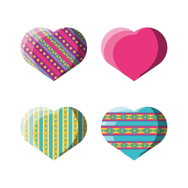 Flat Decoration Heart With Ornamental Symbols Vector Premium Download