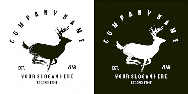 Flat deer logo design Premium Vector