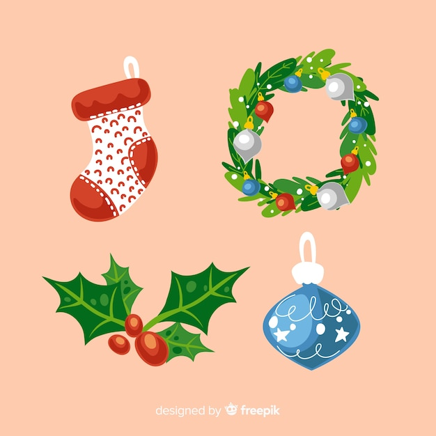 Flat deign christmas element collection Free Vector