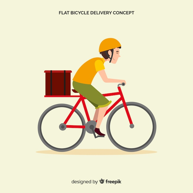Flat delivery boy on bike background Free Vector