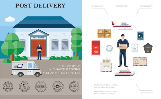 Flat delivery colorful composition with postman float plane yacht post office couriers truck postbox parcel and mail stamps Free Vector