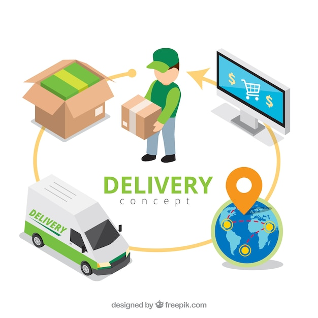 Flat delivery composition with circle Free Vector