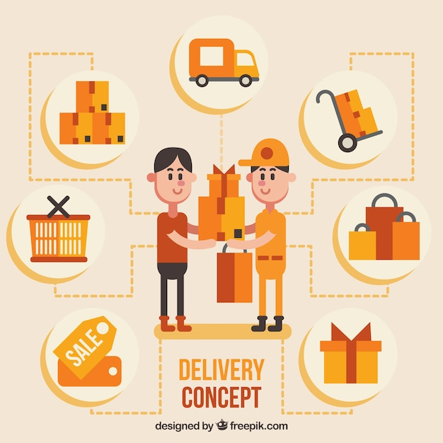 Flat delivery concept with fun style Free Vector